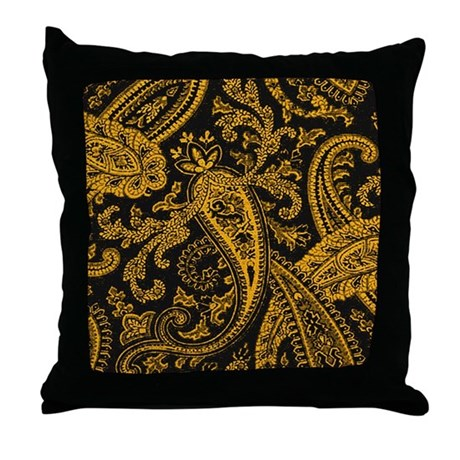 black and gold paisley throw pillow by scarebaby. Black Bedroom Furniture Sets. Home Design Ideas