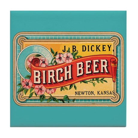 Vintage Birch Beer Label Tile Coaster