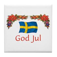 Sweden God Jul 2 Tile Coaster