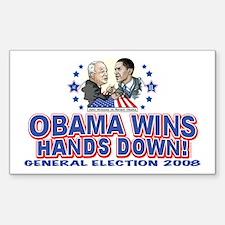Obama Arm Wrestles McSame Rectangle Decal
