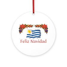 Uruguay Feliz Navidad Ornament (Round)