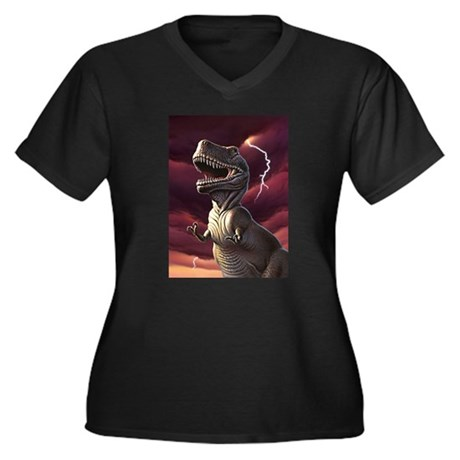 Lightning Rex 3 Women's Plus Size V-Neck Dark T-Sh