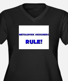 Metalwork Designers Rule! Women's Plus Size V-Neck