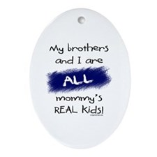 Brothers and I all real kids Oval Ornament