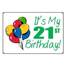 It's My 21st Birthday (Balloons) Banner