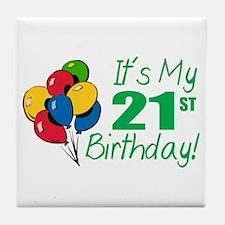 It's My 21st Birthday (Balloons) Tile Coaster