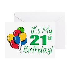 It's My 21st Birthday (Balloons) Greeting Card