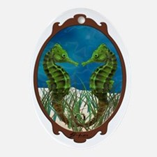 Dual Seahorse Oval Ornament