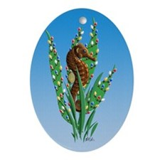 Seahorse Christmas Oval Ornament