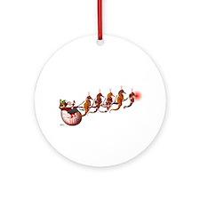 Santa Sleigh Christmas Round Ornament