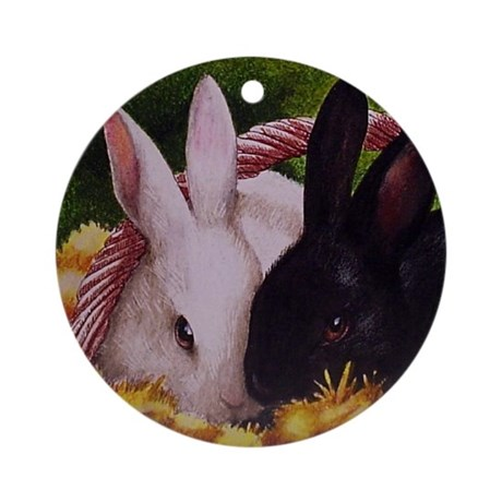 Bunny Christmas Ornament (Round)