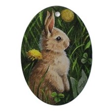Dandilion Bunny Ornament (Oval)