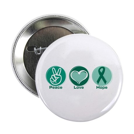 """Peace Love Green Hope 2.25"""" Button"""