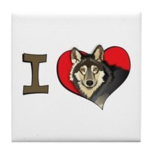 I heart wolves Tile Coaster