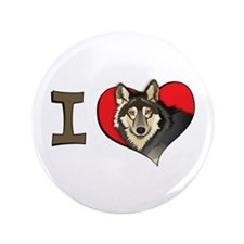 """I heart wolves 3.5"""" Button"""