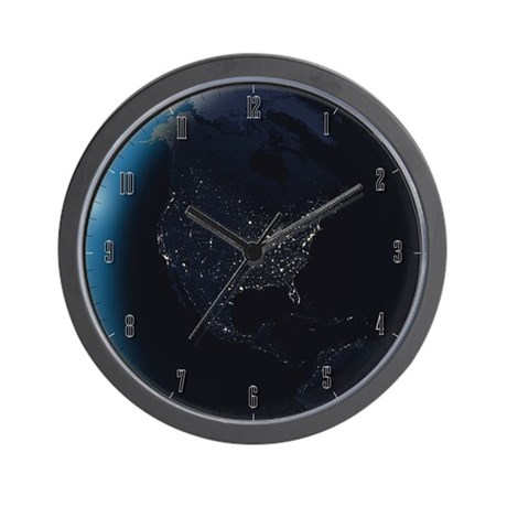 Nighttime view of North America Wall Clock