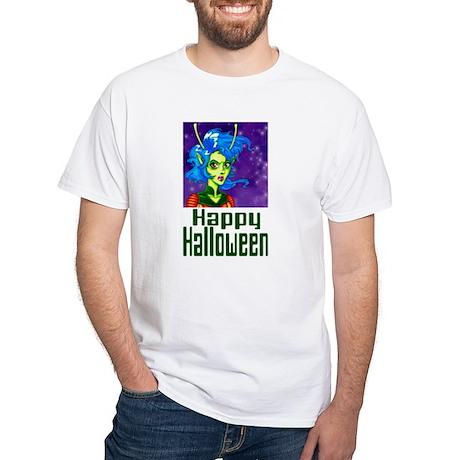Halloween Alien Girl White T-Shirt