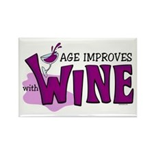 Age Improves With Wine Rectangle Magnet
