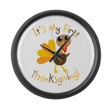 My First Thanksgiving Large Wall Clock