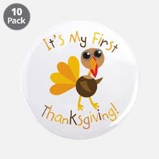 """My First Thanksgiving 3.5"""" Button (10 pack)"""