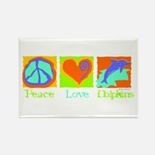 Peace Love Dolphins Rectangle Magnet
