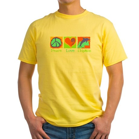 Peace Love Dolphins Yellow T-Shirt