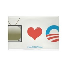 The Media Loves Barack Rectangle Magnet