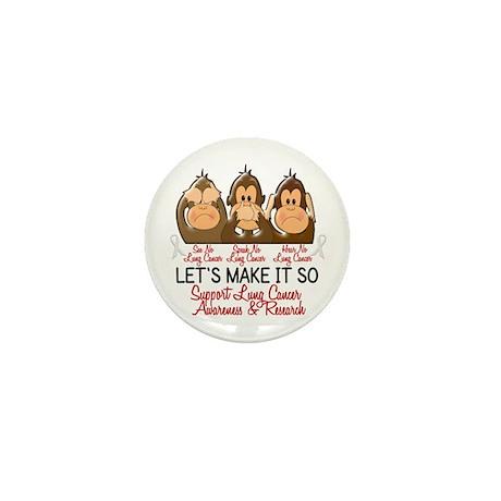 See Speak Hear No Lung Cancer 2 Mini Button (10 pa