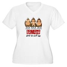 See Speak Hear No Lung Cancer 3 T-Shirt