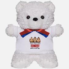 See Speak Hear No Lung Cancer 3 Teddy Bear