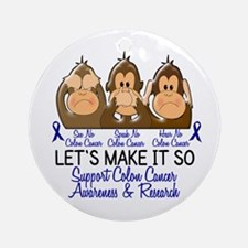See Speak Hear No Colon Cancer 2 Ornament (Round)