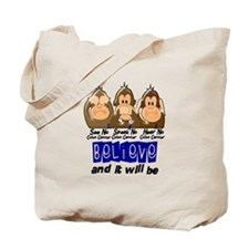See Speak Hear No Colon Cancer 3 Tote Bag