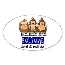 See Speak Hear No Colon Cancer 3 Oval Decal