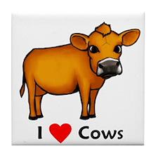 I Love Cows Tile Coaster