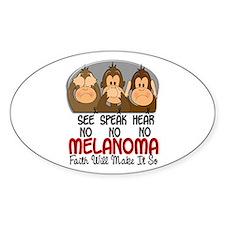 See Speak Hear No Melanoma 1 Oval Decal