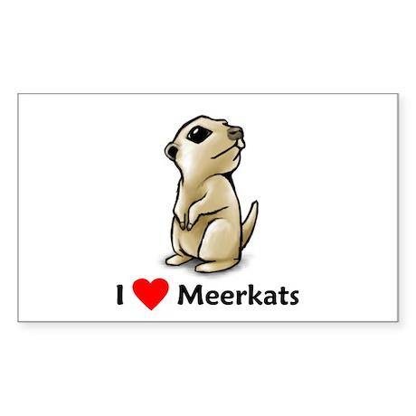 I Love Meerkats Rectangle Sticker