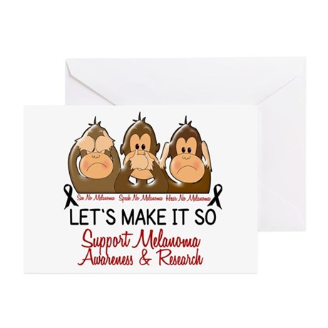 See Speak Hear No Melanoma 2 Greeting Cards (Pk of