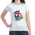 Peace Always in Style Jr. Ringer T-Shirt