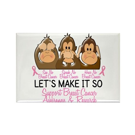 See Speak Hear No Breast Cancer 2 Rectangle Magnet