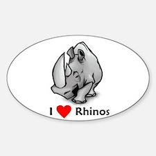 I Love Rhinos Oval Decal