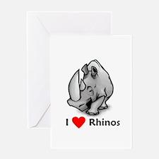 I Love Rhinos Greeting Card