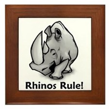 Rhinos Rule! Framed Tile