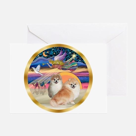 XmasStar/2 Pomeranians Greeting Card