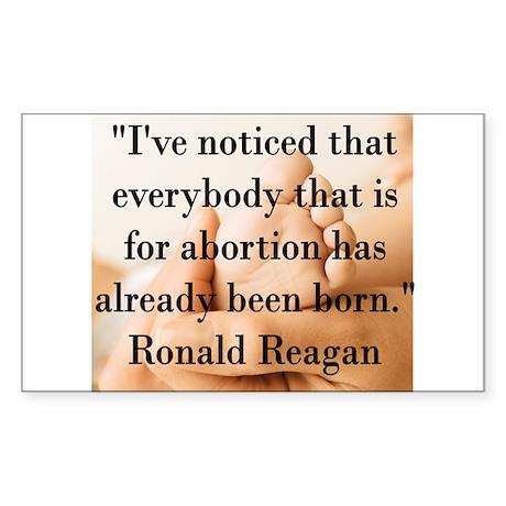 Reagan on Abortion Rectangle Sticker