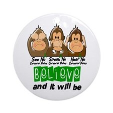 See Speak Hear No Cerebral Palsy 3 Ornament (Round