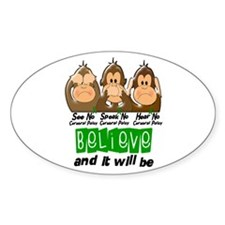 See Speak Hear No Cerebral Palsy 3 Oval Decal