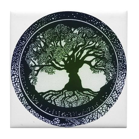 Tree of Life Mandala Tile Coaster