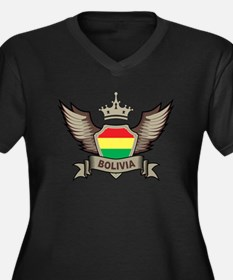 Bolivia Emblem Women's Plus Size V-Neck Dark T-Shi