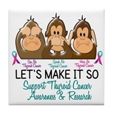 See Speak Hear No Thyroid Cancer 2 Tile Coaster