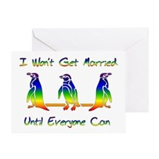 Same Sex Marriage Penguins Greeting Card